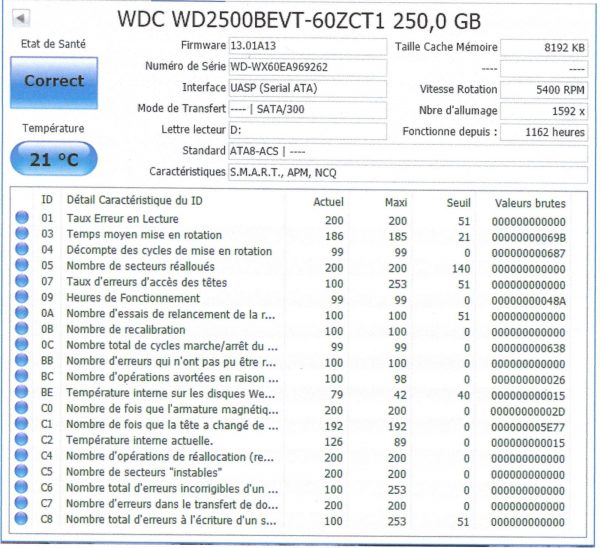 Disque occasion Western Digital 250 Go